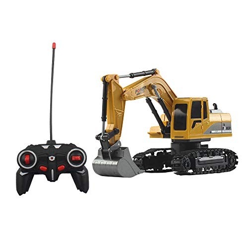 OMLTER Track Alloy Excavator Remote Control Toy 1:24 2.4GHz 6 Channel Remote Control Digger Truck Mini Construction Vehicle Kids Gift
