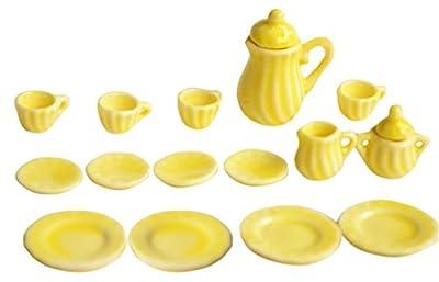 BESTLEE 1:12 Miniature 15PCS Yellow Porcelain Tea Cup Set Dollhouse Kitchen Accessories