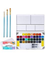 SUPERSUN Kit de Acuarelas para Niños, 36 Colores Pintura de Acuarelas Sólida y 3 Pinceles Acuarela y 8 Papel Acuarela y 1 Paleta Acuarela