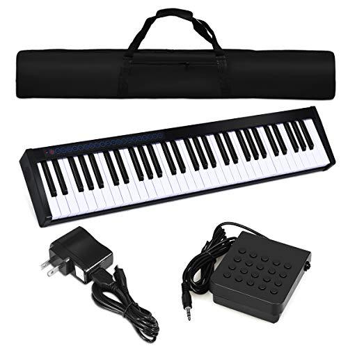 Costzon 61-Key Portable Digital Stage Piano, Upgraded Premium Electric Keyboard W/Carrying Bag, 128 Rhythm, 128 Tone, Sustain Pedal, MIDI/USB Interface, Power Supply, Bluetooth Function (Black)