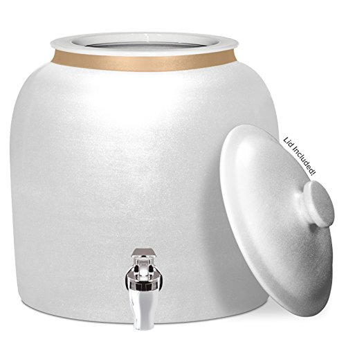 Brio Polished Porcelain Ceramic Water Dispenser Crock with Faucet - Lead Free (Antique White) by Brio