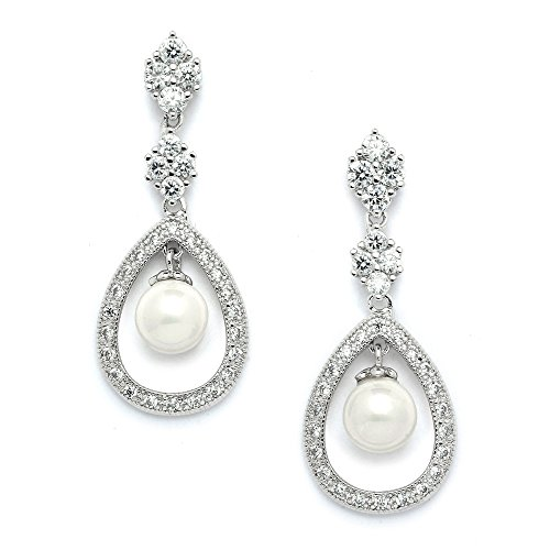 Mariell Vintage Wedding Cubic Zirconia and Cream Pearl Dangle Bridal Earrings - Art Deco Platinum Styling - Faux Pearl Drop Necklace