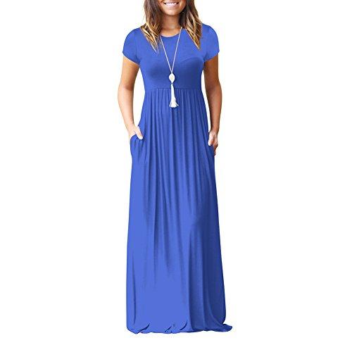 Idingding Long Maxi Dress, Womens Spring Summer Short Sleeve Plain Pleated Tunic T-Shirt Dress, 6511D Blue, L