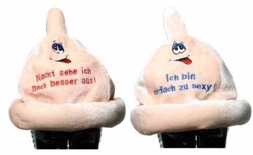 Div Condom-Hut Plüsch mit Gesicht und Spruch