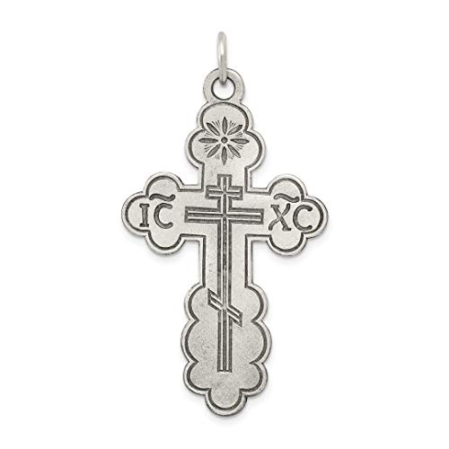 925 Sterling Silver Eastern Orthodox Cross Religious Pendant Charm Necklace Fine Jewelry For Women Gift Set ()