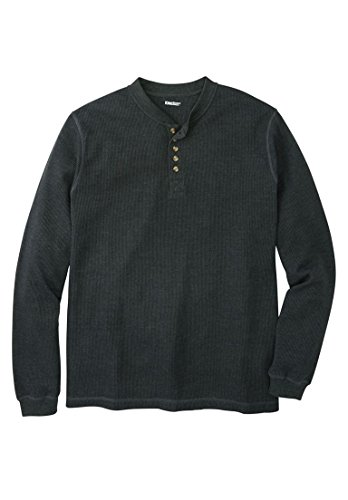 Tall Waffle Knit Thermal Henley Tee, Heather Charcoal ()