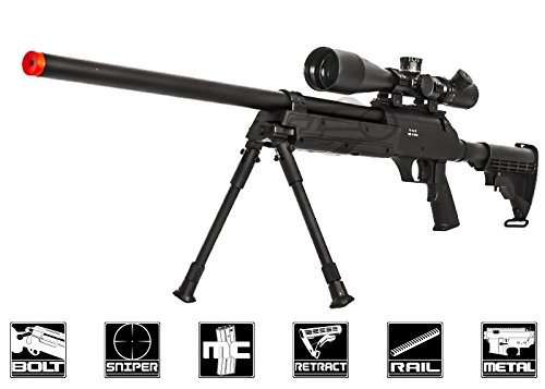 Well Full Metal ASR MB06 SR-2 Bolt Action Sniper Rifle Airsoft Gun (Black/ Bipod Package)