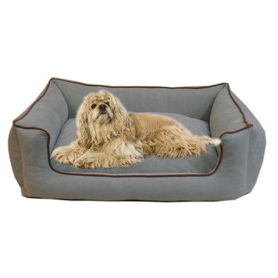 Carolina Bolster Pet Bed - Carolina Pet Microfiber Kuddle Lounge Low Profile Bed for Pets, X-Large, Spa Blue/Chocolate