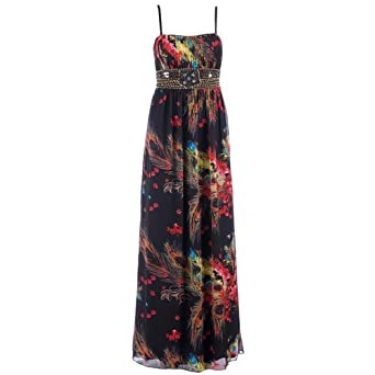 3b12df72352 Little Mistress Women s Peacock   Floral Print Embellished Maxi Dress   Amazon.co.uk  Clothing