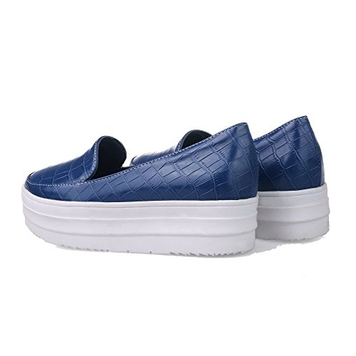Allhqfashion Mujeres-pull-on Low-heels Round-toe Pu Solid Bombas-zapatos Azul