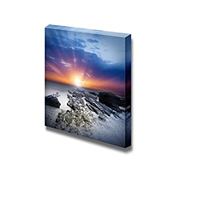 Elegant Expertise, Beautiful Scenery Seascape Setting Sun Over The Sea Wall Decor, Top Quality Design