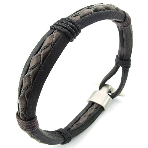 KONOV Womens Leather Bracelet Braided