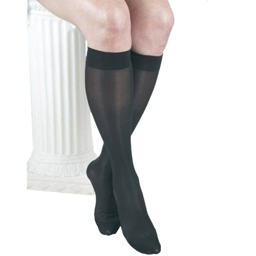 ITA-MED Sheer Knee Highs, Compression(20-22 mmHg), Black, XX-Large, 3 Count