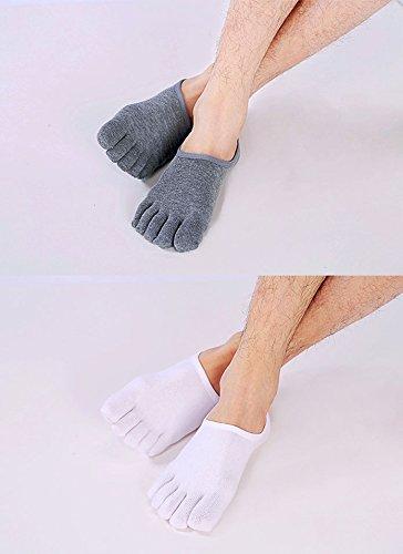 ZAKASA 4 pares de calcetines Toe No Show Running Ciclismo Cinco dedos separados Invisible Crew tobillo Liner calcetines para los hombres UE 36-44