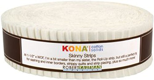 Robert Kaufman Skinny Strips Kona Solids Snow Colorway 40Pcs 1 2in by Robert Kaufman