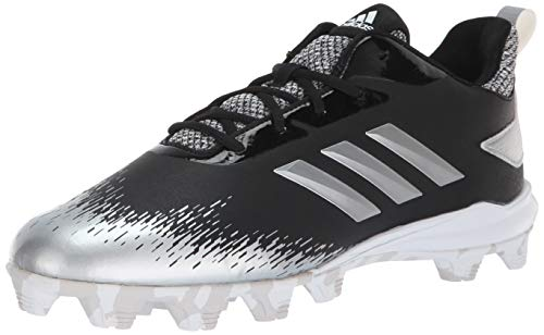 adidas Men's Adizero Afterburner V Baseball Shoe, Black/Silver Metallic/White, 7.5 M US
