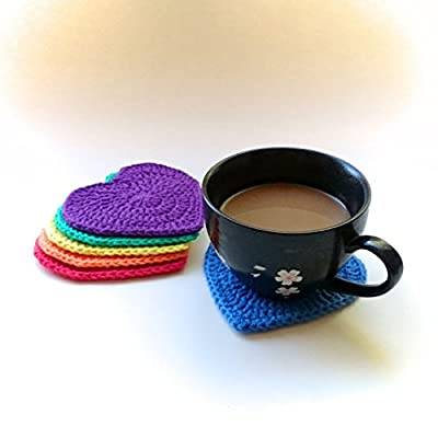 Handmade rainbow heart crochet coasters (Set of 6)