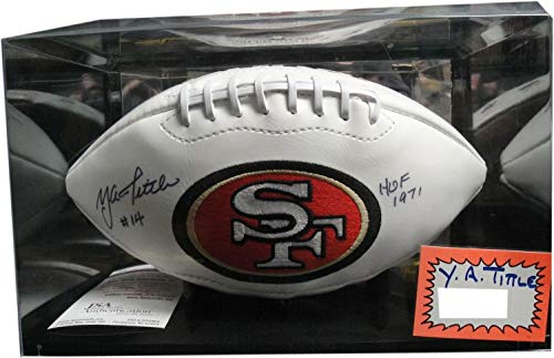 (Y.A. Tittle Hand Autographed Signed Memorabilia Football W/Case San Francico 49ers Ya JSA)