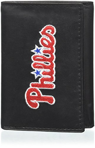 MLB Philadelphia Phillies Embroidered Genuine Cowhide Leather Trifold Wallet
