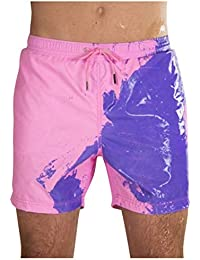 FarJing Men's Color Changing Swim Trunks Heat Reactive and Quick Dry Technology Beach Pants Swim Trunks Shorts
