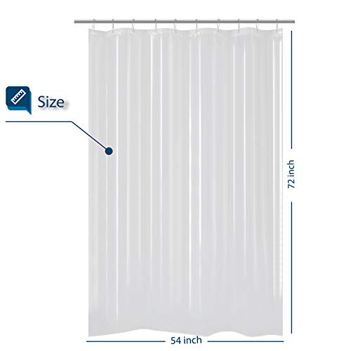 Barossa Design 54 inch Wide Stall Shower Curtain PEVA, Waterproof, PVC Free, Metal Grommets, Clear, 54x72 (54 Shower Inch Curtain)