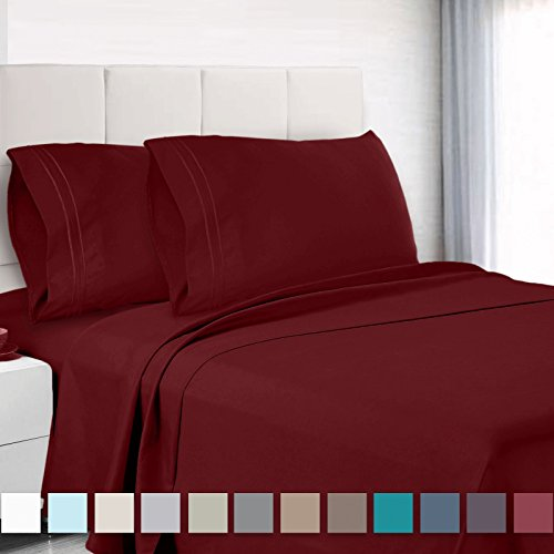 "Empyrean Bedding 14"" - 16"" Deep Pocket Fitted Sheet 4 Piece Set - Super Soft Double Brushed Microfiber Top Sheet - Wrinkle Free Fitted Bed Sheet, Flat Sheet and 2 Pillow Cases - Cal King, Burgundy - Super Pillow Top Set"