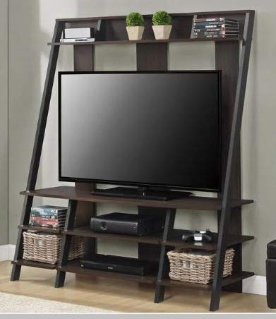 Amazon Com Tv Stand For 50 Inch Tv Espresso Wood Ladder Style