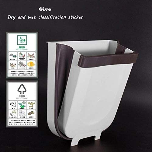 8Lキッチン折りたたみゴミ箱キャビネットドア車のゴミ箱が壁に取り付けられたゴミ箱バスルームトイレ廃棄物収納バケット,White,8L