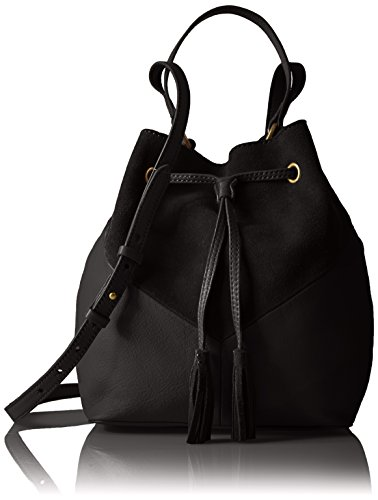 The Fix Mckenzie Suede and Leather Bucket Crossbody Bag, Black by The Fix