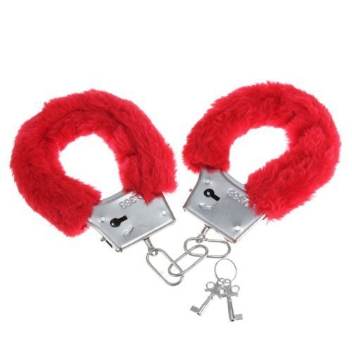 LIWEIKE Soft Steel Fuzzy Furry Cuffs Working Metal Handcuffs (Red)