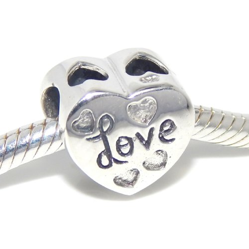 (PJewelry .925 Sterling Silver Etched Love Heart Charm Bead for Snake Chain Charm Bracelets EBD JB 2212 OX)