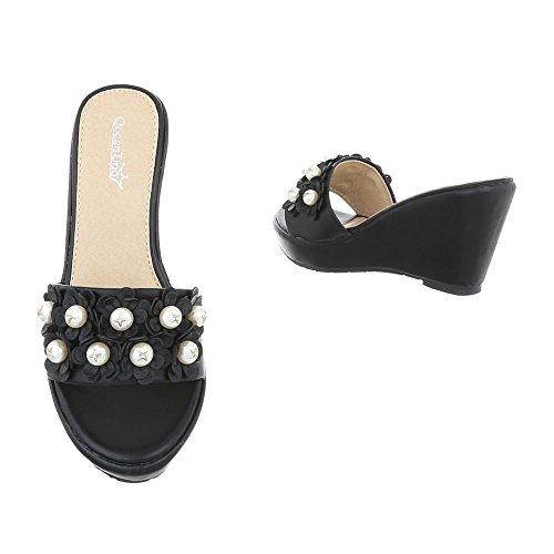 Schuhcity24 Damen Schuhe Sandaletten Keil Wedges Pantoletten Schwarz