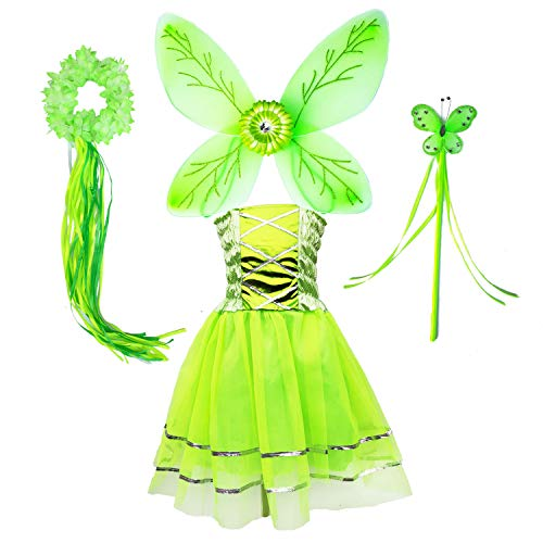 Tinkerbell Fairy Tutu Dress Costume for Girls Pixie Butterfly Dress Up Birthday Party Outfits (Green, M) -