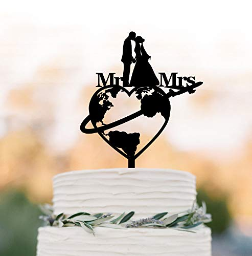 Travel themed Wedding cake topper world map silhouette cake topper airplane mr and mrs cake topper bride with veil and groom silhouette