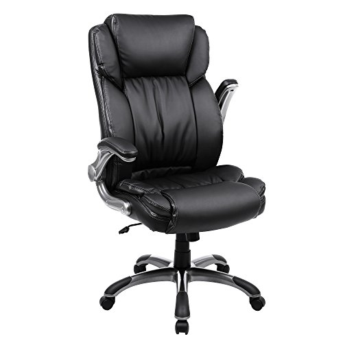 SONGMICS Extra Big Office Chair High Back Executive Chair with Thick Seat and Tilt Function Black UOBG94BK (Head Team Metal Flip)