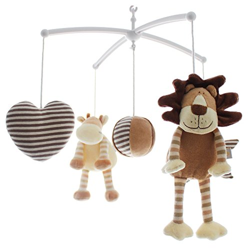 SHILOH Baby Newborn Crib Mobile Plush Canopy Toys without musical box or arm (Brown Lion & Cow)
