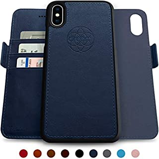 Dreem Fibonacci 2-in-1 Wallet-Case for iPhone X & Xs, Magnetic Detachable Shock-Proof TPU Slim-Case, RFID Protection, 2-Way Stand, Luxury Vegan Leather, GiftBox - Royal