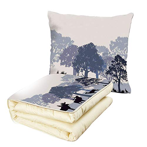 iPrint Quilt Dual-Use Pillow Moose Forest Design Abstract Woods North American Wild Animals Deer Hare Elk Trees Multifunctional Air-Conditioning Quilt Black White Grey by iPrint (Image #6)
