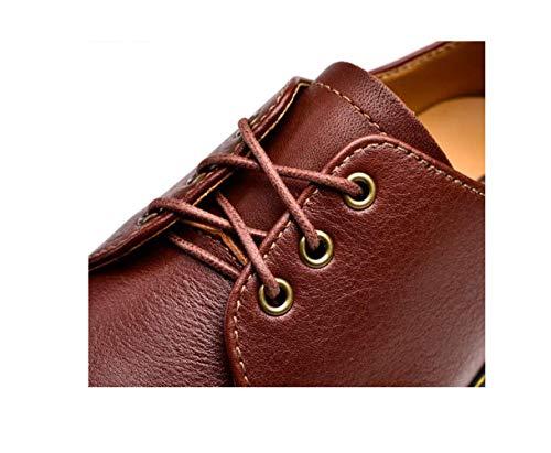Sandali Stivali Nastro Stagione Tela Scarpe Pelle Colore Affari in Casual Punta A Uomo Morbido Sportivi Tondo Brown xwqFCC
