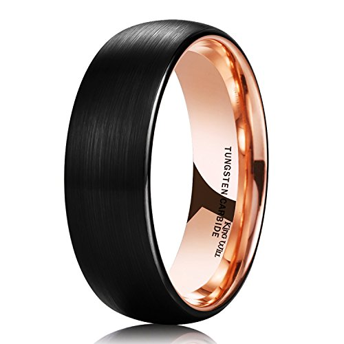 King Will Duo 8mm Women Men Black Tungsten Carbide Ring Matte Brushed Dome 18K Rose Gold Plated Comfort Fit Wedding Band