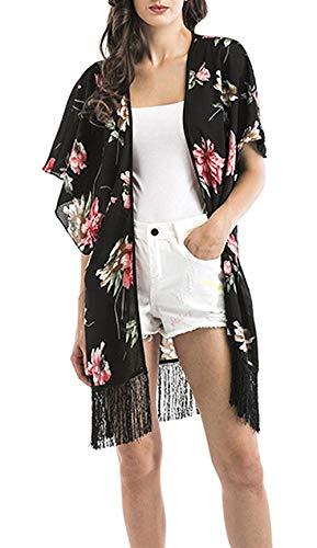 Manica Vintage Con Sciolto Libero Kimono Fashion Donna Giovane Chiffon Mare Schwarz1 Nappe Cardigan Eleganti Up Cover Floreali Lunga Bikini Corta Tempo Blusa qABnw0