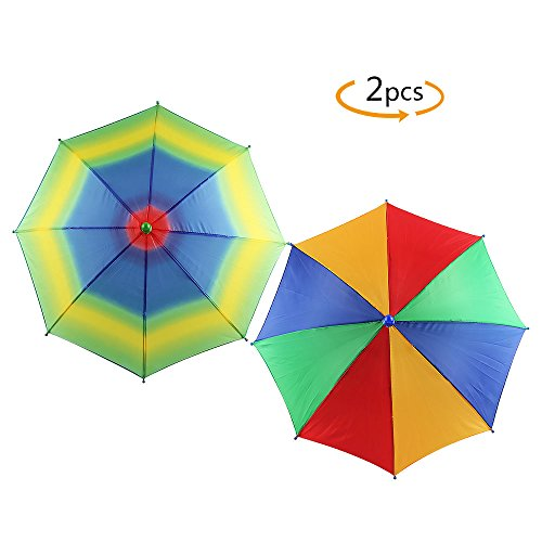 YGDZ 2 Pack Rainbow Multicolor Umbrella Hat Hands Free with Head Strap for Golf Fishing Beach Trip Costume Party by (Beach Party Hats)