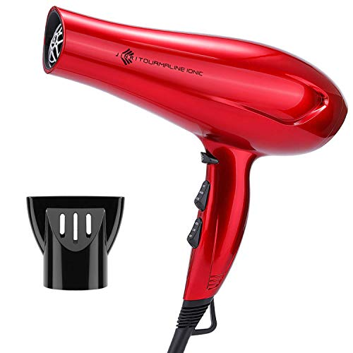 1875W Professional Tourmaline Hair Dryer, Negative Ionic Blow Dryer with Concentrator, Lightweight Low Noise DC Motor Fast Dry Hair Blow Dryers, Red Color