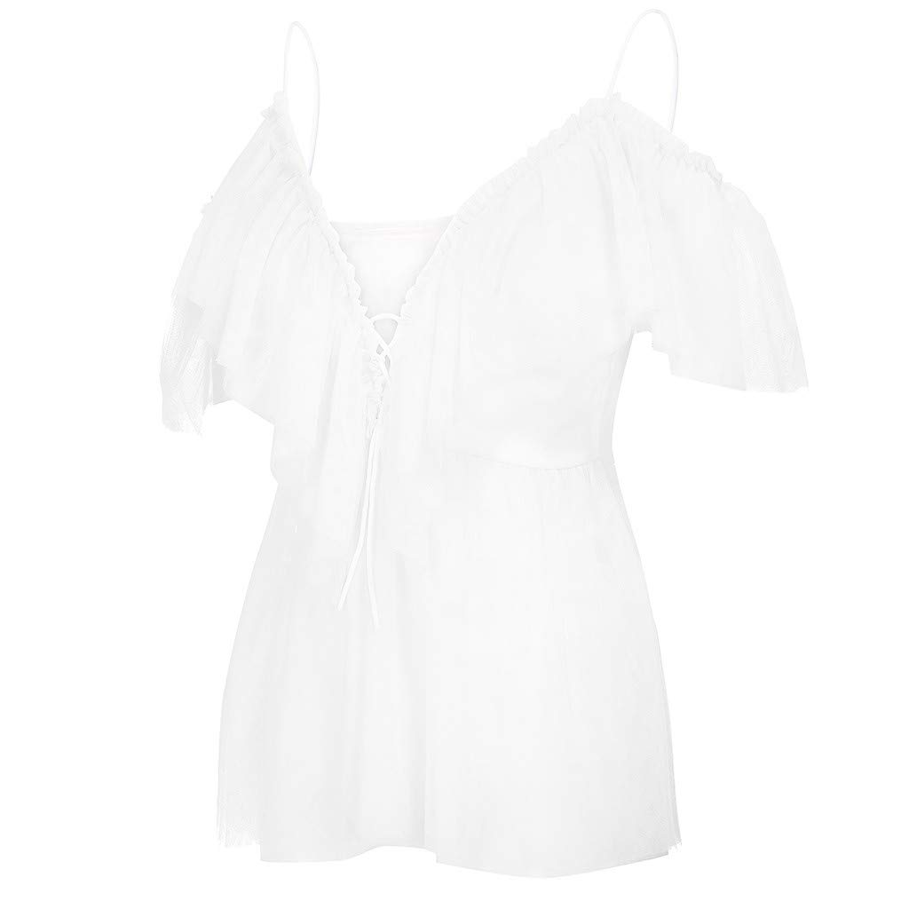Shusuen Women's Sexy Off Shoulder Deep V Neck Tops Lace Up Ruffle Blouse Shirt White by Shusuen_Clothes (Image #4)