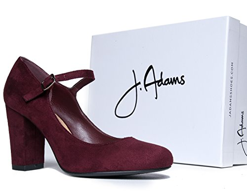 Heels Vino J Toe Block Comfortable Mary Adams Round Pumps Skippy Jane Chunky Cute Suede Y7YPqr