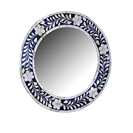 Amazon.com: Bone Inlay Round Mirror Frame Blue Handmade Inlay ...