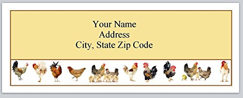 Address Labels Chicken (120 Personalized Return Address Labels Chickens Rooster Hens Baby Chicks (bx 243))