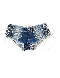 Women Summer Lace Up Cross Bandage Cut Off Ripped Denim Shorts