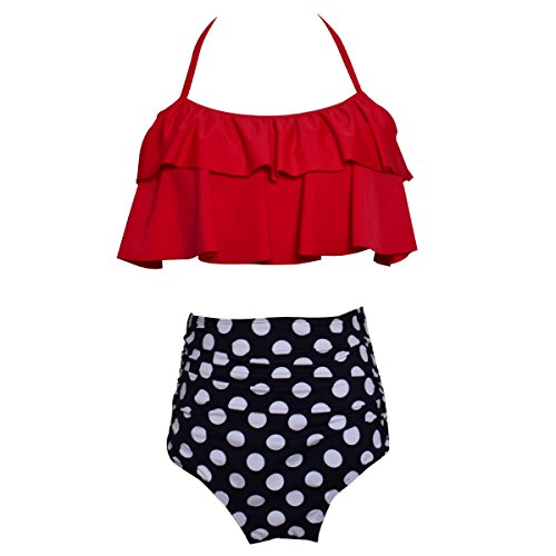 - Mother Daughter Swimsuits Matching Family Mommy Girls Matching Swimwear 140 Red Polka Dot