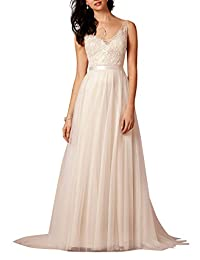 Ikerenwedding® Women's V-Neck A-line Lace Tulle Long Beach Wedding Dress